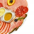 Sausage sliced food ham mustard isolated plate on white backgrou — Stock Photo