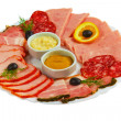 Food sausage sliced ham mustard isolated plate on white backgrou — Stock Photo