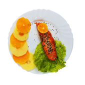 Fish tasty plate boiled salad isolated on white background clipp — Stock Photo