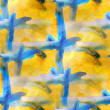 Art avant-garde background hand blue, yellow paint seamless wall — Stockfoto #25859197