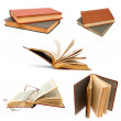 Book set open background old cover white isolated paper collecti — Stock Photo