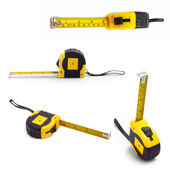 Tape set measure isolated white tool meter construction yellow c — Stock Photo