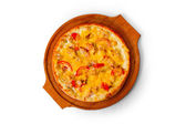 Isolated fast dinner crust baked a pizza food cheese italian tom — Stock Photo