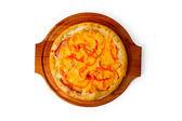 烤披萨快速晚餐地壳意大利火腿食品奶酪隔离 — 图库照片