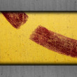 Metal yellow old iron red background rusty surface rust paint te — Stock Photo #27104247