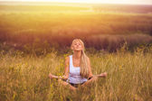 Yoga girl meditation woman female body lotus young relaxation he — Stock Photo