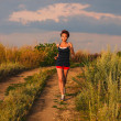 Beautiful healthy runs young brunette womathlete running outd — Stock fotografie #28694433