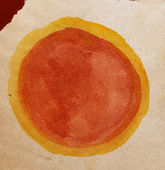 Cross old vintage brown circle watercolor red yellow abstract ba — Stock Photo