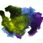 Watercolor splash purple, green isolated spot handmade colored b — Stock Photo #30469097