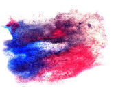 Watercolor blue, red splash isolated spot handmade colored backg — Stock Photo