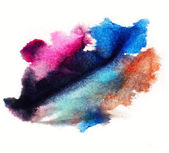 Watercolor purple, blue splash isolated spot handmade colored ba — Stock Photo