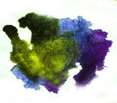 Watercolor splash purple, green isolated spot handmade colored b — Stock Photo