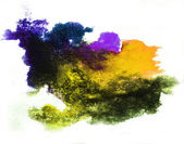 Watercolor splash yellow, purple isolated spot handmade colored — Stock Photo