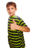 Blond child toddler boy in striped shirt, holding his fingers up — Foto Stock