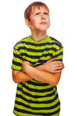 Blond boy in green striped shirt thinking looking up isolated wh — Stock Photo