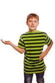 Blond boy child teenager open hand palm — Stock Photo