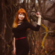 Red-haired woman in black dress dark forest, dry branches — Stock Photo