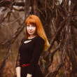 Face red-haired model girl in black woman dress dry autumn — Stock Photo