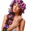 Model beautiful woman face close-up head beauty, wreath flowers — Stock Photo #35296087