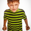 Постер, плакат: Angry child boy blond bully bad aggressive fights in striped gre