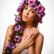 Stock Photo: Model beautiful womface close-up head beauty, wreath flowers