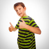 Blond child boy toddler striped shirt, holding his fingers up, s — Stock Photo