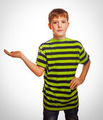 Teenager child boy blond open hand palm — Stock Photo