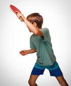 Ping Pong junge blonder Mann Tischtennis Vorhand spielen nimmt tops — Stockfoto
