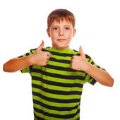 Boy toddler striped blond shirt holding fingers up — Stock fotografie