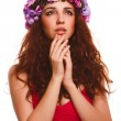 Beautiful woman face model close-up head beauty, wreath flowers — Stock Photo