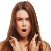 Woman screams experiencing anger and frustration — Stock Photo