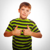 Boy striped blond toddler shirt, holding his fingers up — Stock Photo