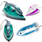 Set electric steam iron isolated on white — 图库照片