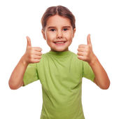 Girl raised her thumbs up smiling symbol indicates yes — Stock Photo