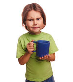Dissatisfied little girl child frowns upset emotions — Stock Photo