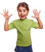 Girl little pleased joyful surprise spread her arms — Stock Photo