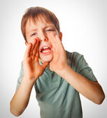 Boy calling cries opened his mouth emotion — Stock Photo