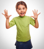 Girl little pleased joyful surprise emotion — Stock Photo
