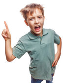 Shaggy kid blond boy raised thumbs is good idea to come up — Stock Photo