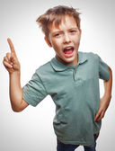 Shaggy kid blond boy raised thumbs up is good idea to come up emotion — Stock Photo