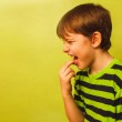 Постер, плакат: Baby boy teenager poisoning vomiting belching anorexia fingers
