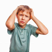 Boy child sad angry upset kid face frustrated portrait person is — Stock Photo