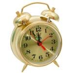 Alarm clock yellow gold isolated — Stock Photo #37541821