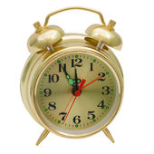 Alarm clock gold isolated (clipping path) — Stock Photo