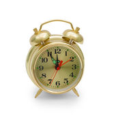 Alarm clock gold isolated — Stock Photo