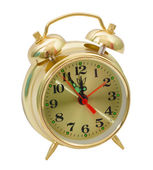 Alarm clock yellow gold isolated — Stok fotoğraf