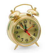 Alarm clock yellow gold isolated on white background — Stok fotoğraf