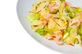 Apple shrimp salad isolated on white background clipping path — Stockfoto