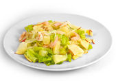 Apples shrimp salad isolated a on white background — Stock fotografie