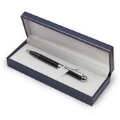 Black ballpoint pen isolated gift box — Stock Photo